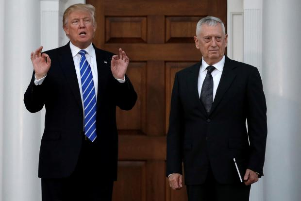 File picture of Donald Trump with retired Marine Gen. James Mattis.