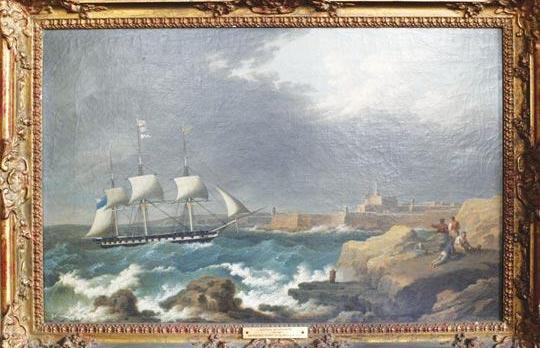 This painting of a sailing ship entering Grand Harbour by Anton Schranz together with other paintings, furniture and objets d'art will go under the hammer between November 19 and 21. Photo: Darrin Zammit Lupi.