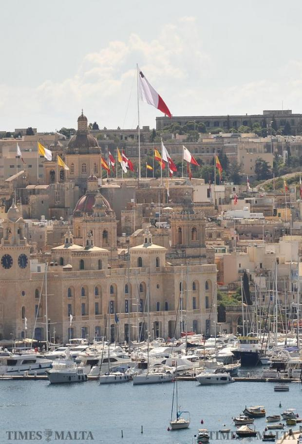 Flags fly above Couvre Porte in Vittoriosa on August 24. Photo: Chris Sant Fournier