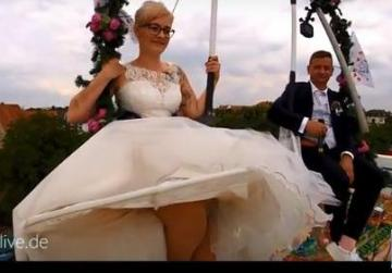 Raising a toast to the couple - 14m above the ground