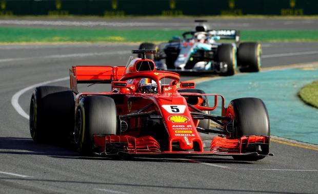 Ferrari\'s Sebastian Vettel leads Lewis Hamilton, of Mercedes, during the Australian Grand Prix.