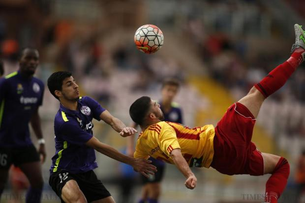 Birkirkara's Zach Muscat attempts an overhead kick during their Premier League football match against St Andrew's at the National Stadium in Ta'Qali on October 4. Photo: Darrin Zammit Lupi