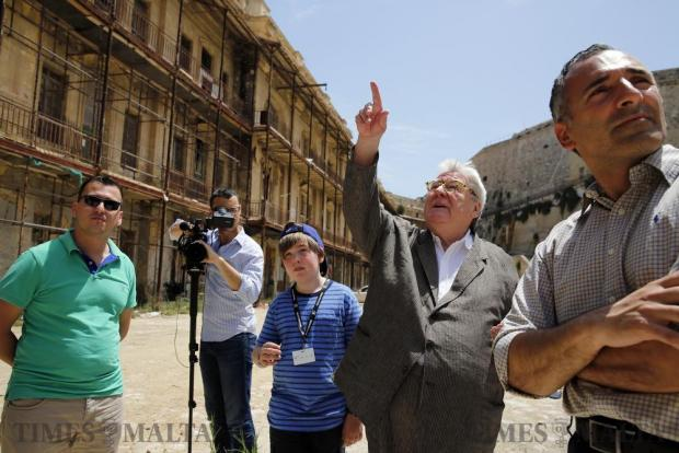 British film director Sir Alan Parker (2nd right), in Malta for the second edition of the Valletta Film Festival during which his 1978 film Midnight Express is being screened, visits Fort St Elmo, where most of the film was shot, in Valletta on June 4. Photo: Darrin Zammit Lupi