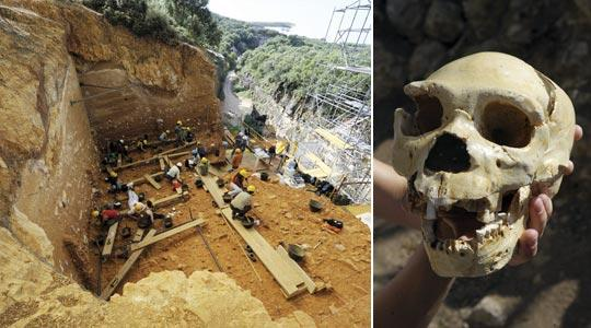 Workers carry out an excavation at the Atapuerca Archaeology sight in the mountains, northern Spain. Right: The skull named Miguelon, estimated to be 400,000 years old and the most complete skull of an Homo heidelbergensis ever found, at the Atapuerca archaeological site in northern Spain.