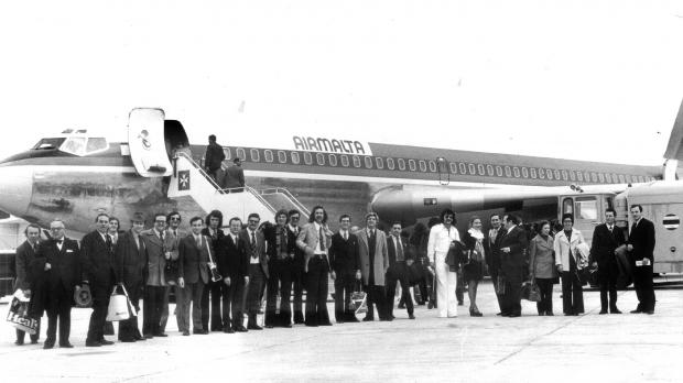 The passengers of Air Malta's first flight to London Heathrow.