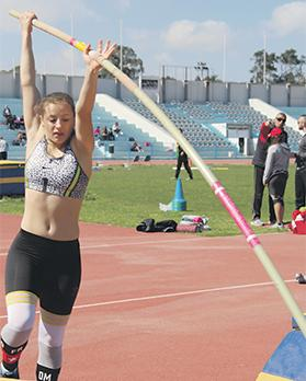 Peppijna Dalli in action in the pole vault event at Marsa.