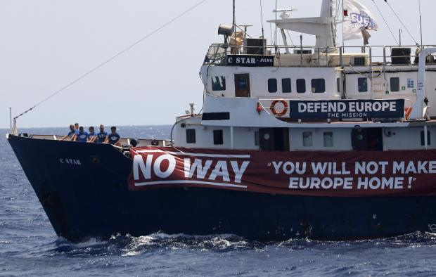 The C Star vessel run by a group of anti-immigration activists is seen north of the Libyan coast in Western Mediterranean Sea.