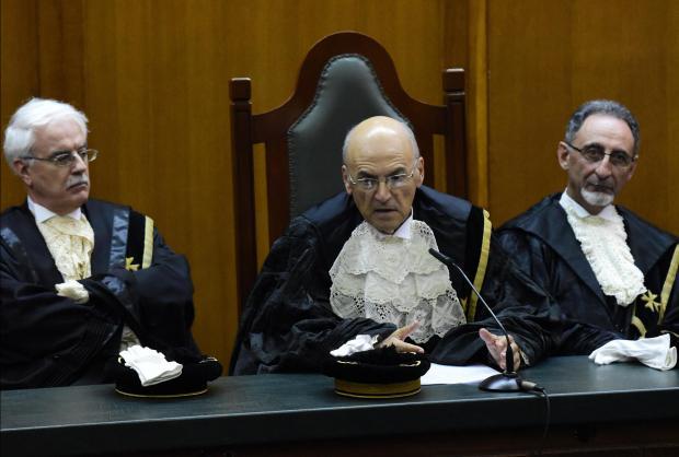 The Chief Justice (centre) making his address. Photo: Mark Zammit Cordina