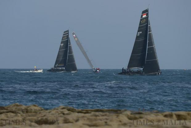 Sailing boats battle it out against each other off the Sliema coast in the RC44 Fleet Racing Championship on November 24. Photo: Matthew Mirabelli
