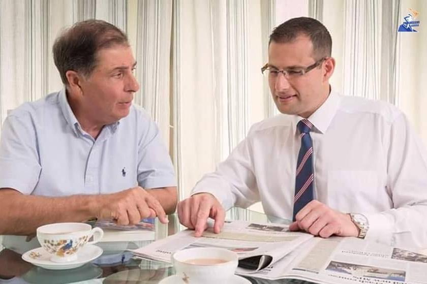Robert Abela with his father George (left), who came second to Joseph Muscat in the Labour Party's previous leadership race, in 2008. George Abela would go on to serve as President of Malta. Photo: Facebook