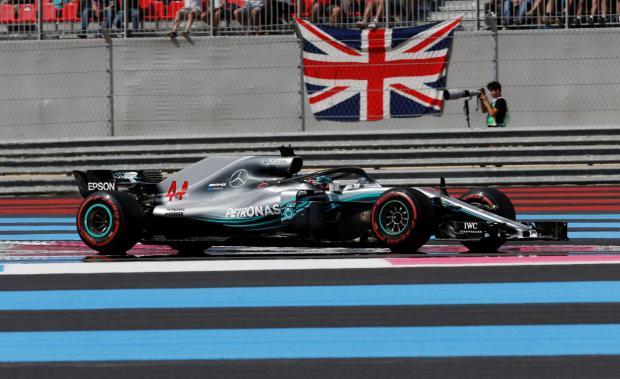 Mercedes' Lewis Hamilton during the race.