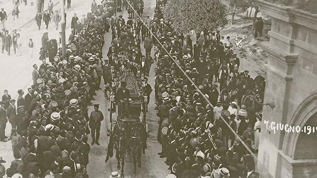 The funeral cortège of the first three victims of the Sette Giugno uprisings on June 9, 1919. Photo: Giovanni Bonello archives