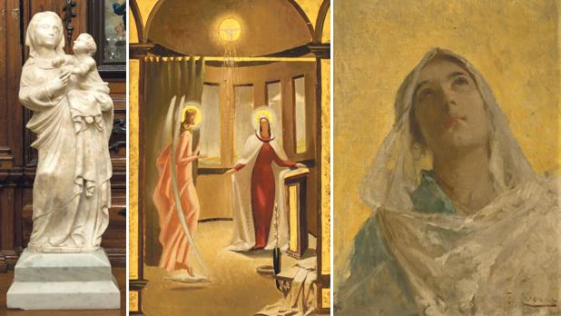 From left: Madonna of Trapani, Patron of the Mediterranean, a marble sculpture at the Capuchin Friary, Victoria, the Annunciation, Emvin Cremona (1919-1987), Żebbuġ parish church, 1945, oil on panel and Visione (The Virgin in Ecstasy), Ettore Cercone (1850-1896), private collection, oil on canvas. Photo: Joe Attard