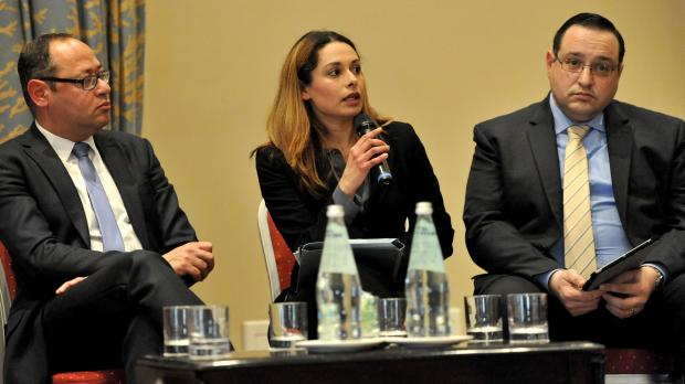 Ruth Gauci addressing the panel discussion. Photo Chris Sant Fournier