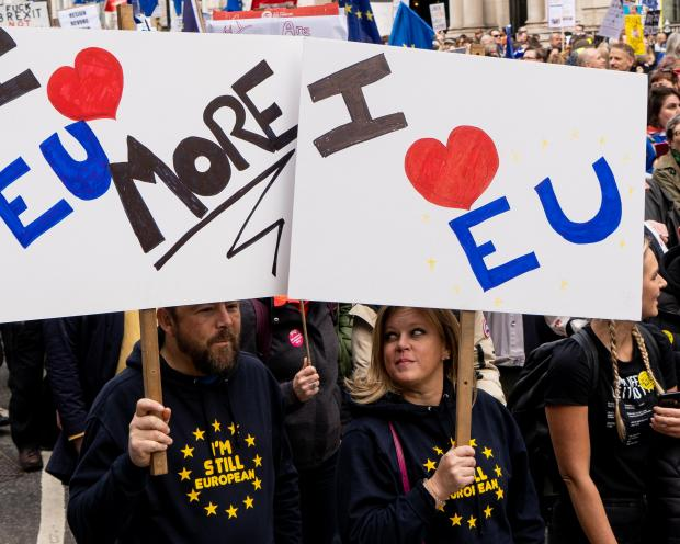 Protesters want a second Brexit referendum. Photo: AFP