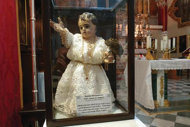 Baby Jesus of Padua exhibited for St Anthony feast celebration