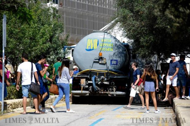 A parked bowser waits outside the Quadrangle at the University of Malta before the annual university water fight on October 5. Photo: Steve Zammit Lupi