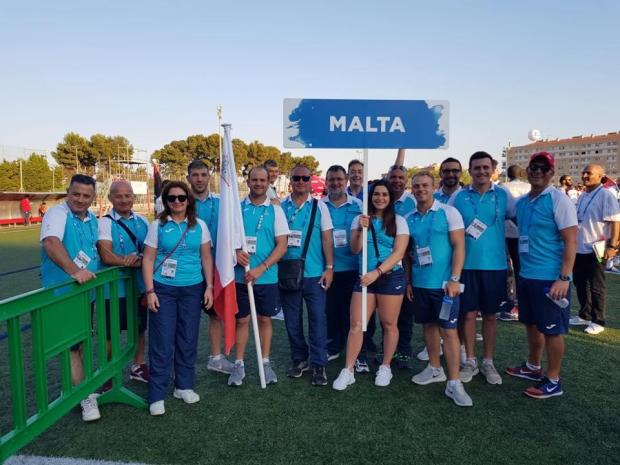 Team Malta prior to the opening ceremony on Friday.