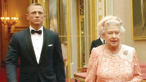 Daniel Craig as James Bond escorting Queen Elizabeth II through the corridors of Buckingham Palace in the London Olympics opening ceremony stunt.