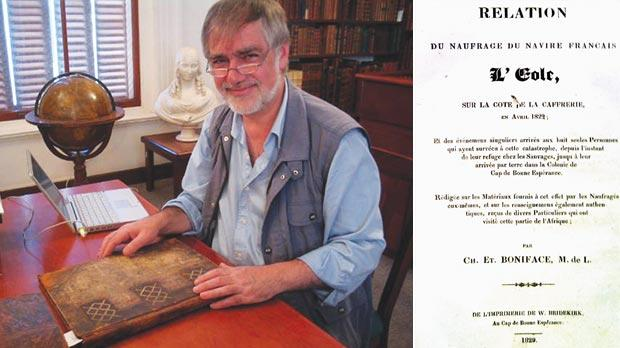 An undated handout photo of David Culpin who discovered a rare book marking a literary milestone in South Africa while researching a 19th century collection. Right: A rare book marking a literary milestone in South Africa which has been discovered by an expert researching a 19th century collection.