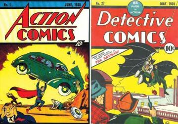 Action Comics No.1. Right: Detective Comics No.27.
