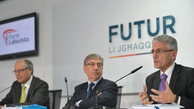 Edward Scicluna, Karmenu Vella and Charles Mangion yesterday. Photo: Jason Borg