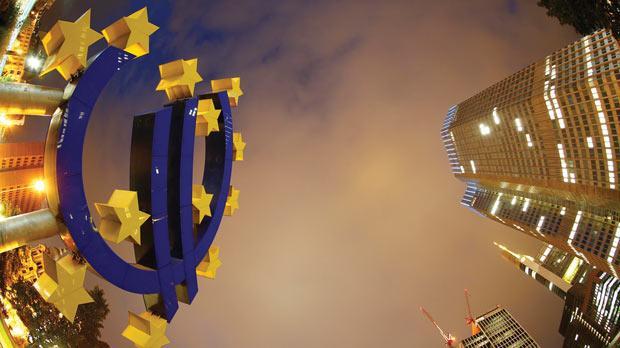 The euro sign landmark at the headquarters of the European Central Bank in Frankfurt. Photo: Kai Pfaffenbach/Reuters