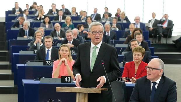 Jean-Claude Juncker, incoming president of the European Commission, delivering his speech at the presentation of the college of Commissioners and their programme during a plenary session at the European Parliament in Strasbourg. Photo: Christian Hartmann/Reuters