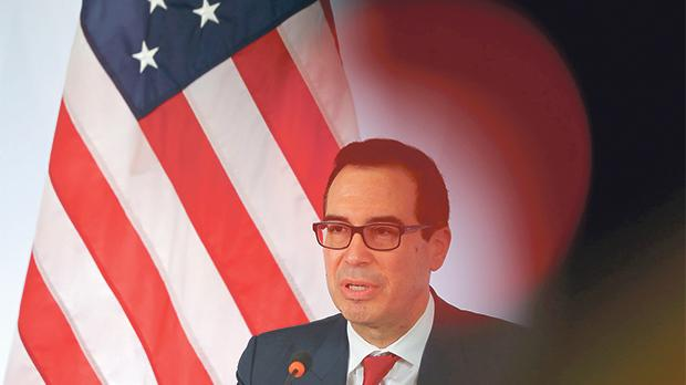 US Treasury Secretary Steve Mnuchin addressing a news conference at the G20 finance ministers and central bank governors meeting in Baden-Baden, Germany, last weekend. Photo: Kai Pfaffenbach/Reuters