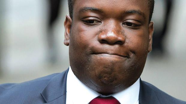 Former UBS trader Kweku Adoboli arriving at Southwark Crown Court in London. Photo: Reuters