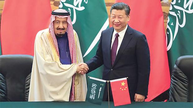 China's President Xi Jinping and Saudi Arabia's King Salman bin Abdulaziz Al-Saud shaking hands during a signing ceremony at the Great Hall of the People in Beijing last week. Photo: Lintao Zhang/Reuters