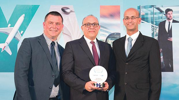 Nejib Ben Khedher (centre), senior vice president, Emirates Skywards accepts the award for Excellence in Management at Loyalty Awards 2018.