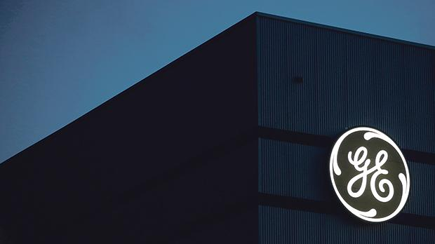 The General Electric logo is pictured on the General Electric offshore wind turbine plant in Montoir-de-Bretagne, near Saint-Nazaire, western France. Photo: Reuters