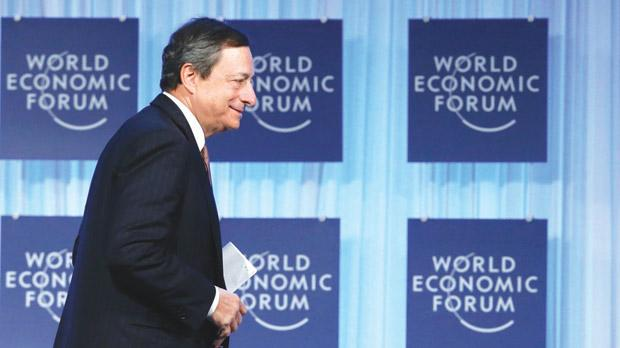 European Central Bank President Mario Draghi told the World Economic Forum in Davos on Friday that the year had begun on a better note than last. Photo: Reuters