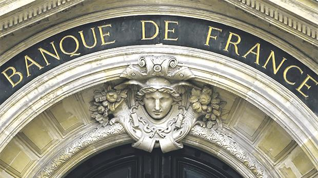Detail of the facade of the Bank of France headquarters in Paris. Photo: Reuters