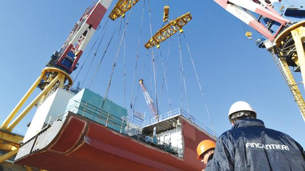 The first block of Costa Diadema's hull being laid at Fincantieri's shipyard in Marghera, Italy.