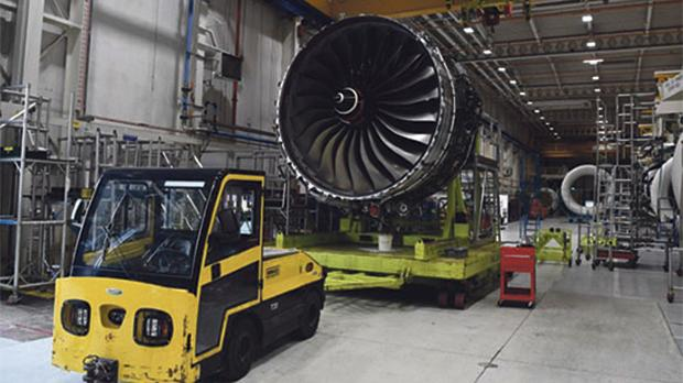 Rolls Royce Trent XWB engines, designed specifically for the Airbus A350 family of aircraft, are seen on the assembly line at the Rolls Royce factory in Derby. Photo: Paul Ellis/Reuters