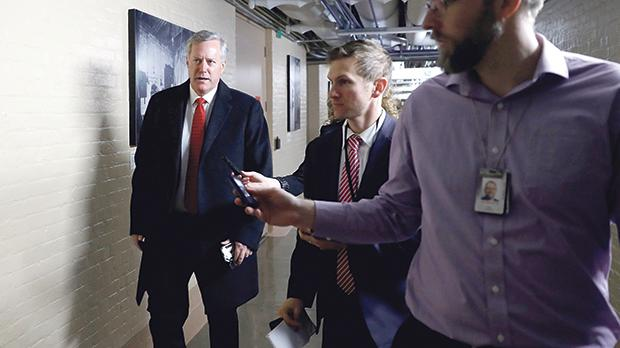 MarkMeadowsarrives for a closed Republican meeting on Capitol Hill, Washington, US. Photo: Reuters