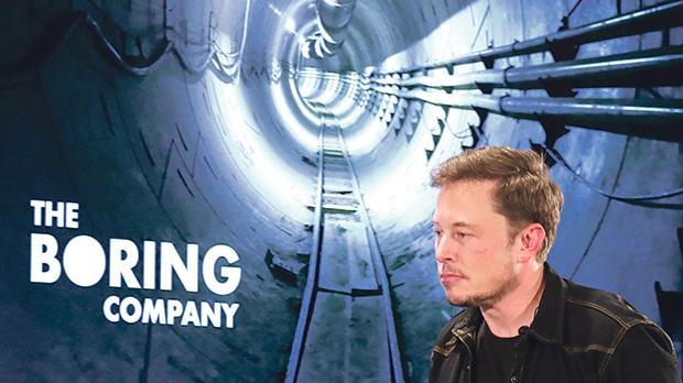 Elon Musk speaks at a Boring Company community meeting in Bel Air, Los Angeles.