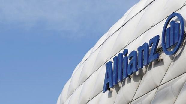 The logo of Allianz SE Allianz Arena soccer stadium in Munich. Photo: Michaela Rehle/Reuters