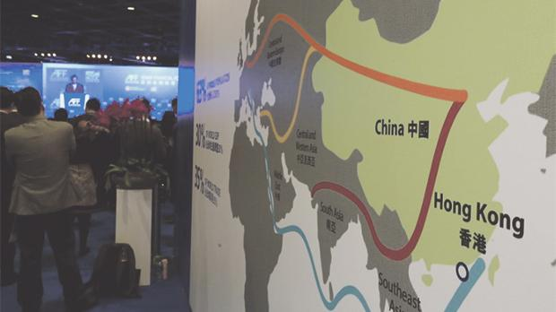 A map illustrating China's silk road economic belt and the 21st century maritime silk road at the Asian Financial Forum. Photo: Bobby Yip/Reuters