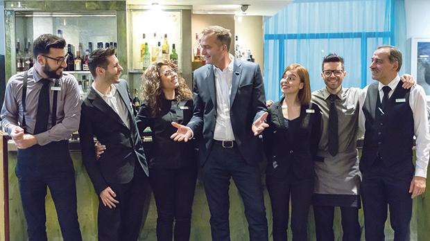 Le Méridien general manager Alex Incorvaja (centre) seen here with some members of his team.