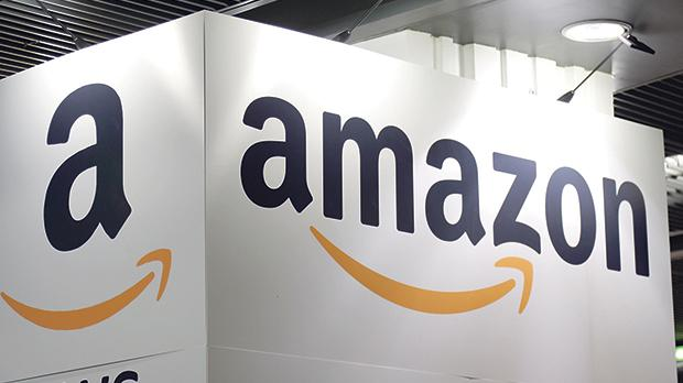The Amazon logo at the Young Entrepreneurs fair in Paris, France, held last week. Photo: Reuters
