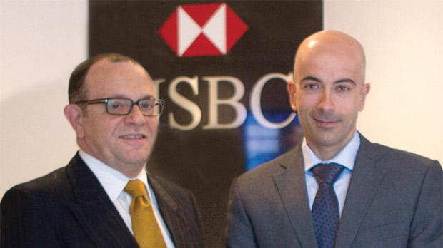 "HSBC Malta's Gaetano Sammut (left) and Vincent Borg said the trade flows discussed at the UK conference presented ""exciting opportunities"" for Malta."