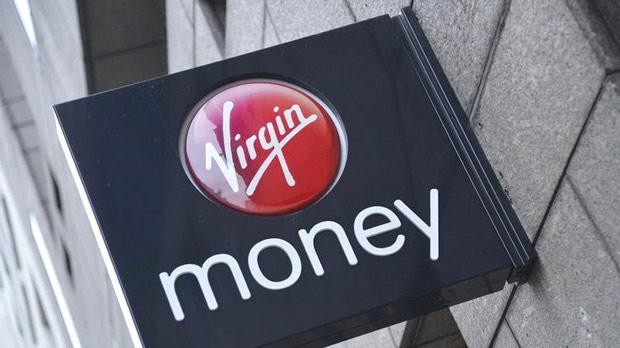 A logo at a branch of Virgin Money bank in London. Photo: Toby Melville/Reuters