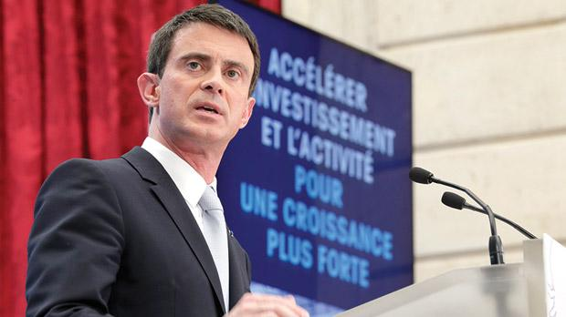 French Prime Minister Manuel Valls speaking during a presentation of the government plan for investment at the Elysee Palace in Paris. Photo: Philippe Wojazer/Reuters