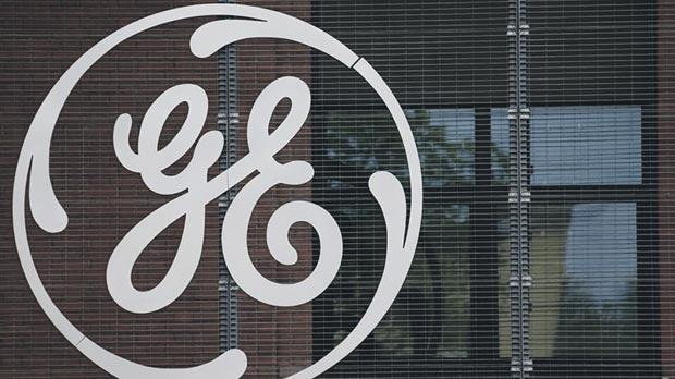 The logo of US conglomerate General Electric at the company's site in Belfort. Photo: Vincent Kessler/Europe