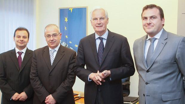 European Commissioner Michel Barnier (second, right) with the MBB's Omar Cutajar, Joe Tanti and George Vella in Strasbourg last week. He will travel to Malta later this year. Photo: European Union