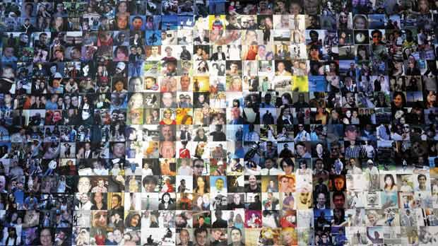 A collage of profile pictures makes up a wall in the break room at the new Facebook Data Centre in North Carolina. Photo: AFP