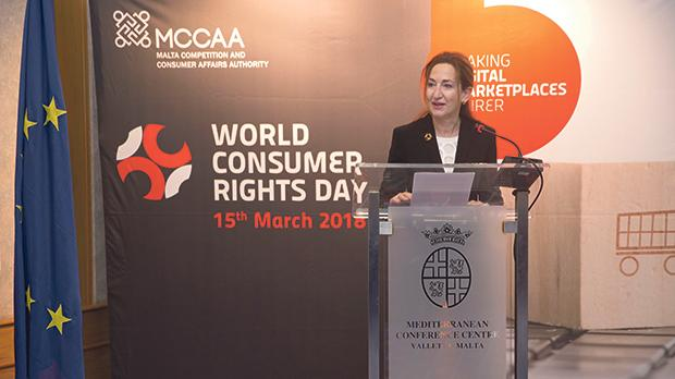 MCCAA chairwoman Helga Pizzuto talking to participants on World Consumer Rights Day.